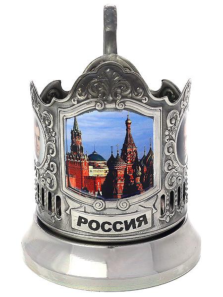 Никелированный подстаканник с термопечатью Красная площадь. Кремль КольчугиноЛатунный подстаканник с никелированным покрытием.<br>