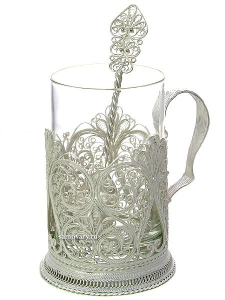 Набор для чая Настроение на 1 персону (подстаканник посерябренный), КазаковоАжурный набор из посеребренного подстаканника, чайной ложки и термостойкого стакана.<br>Упакован в стильную дизайнерскую коробку....<br>