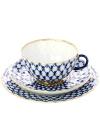 3-х предметный чайный комплект форма Тюльпан, рисунок Кобальтовая сетка, Императорский фарфоровый завод3-x предметный фарфоровый чайный комплект.&#13;<br>Объем - 250 мл.<br>