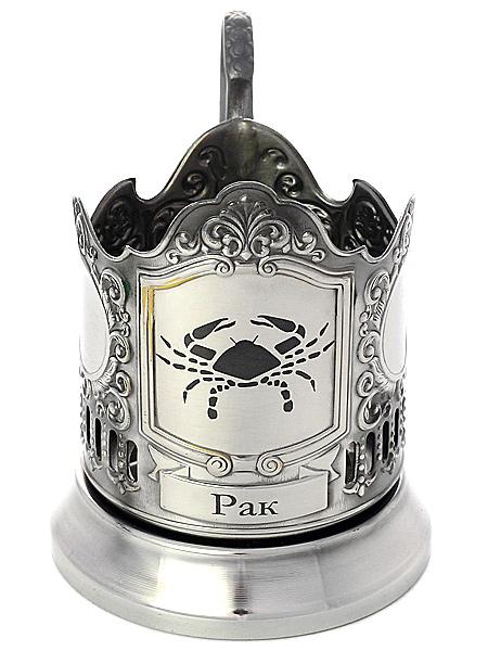 Никелированный подстаканник с гравировкой Знак Зодиака - Рак КольчугиноНикелированный подстаканник в комплекте с чайной ложкой.<br>