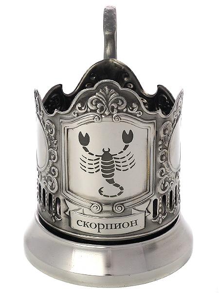 Никелированный подстаканник с гравировкой Знак Зодиака - Скорпион КольчугиноНикелированный подстаканник в комплекте чайной ложкой.<br>