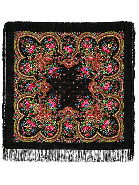 Шерстяной Павлопосадский платок Душевный разговор, 125*125 см, арт. 1113-18Платок шерстяной с набивным рисунком и шелковой бахромой.<br>Размер 125*125 см.<br>