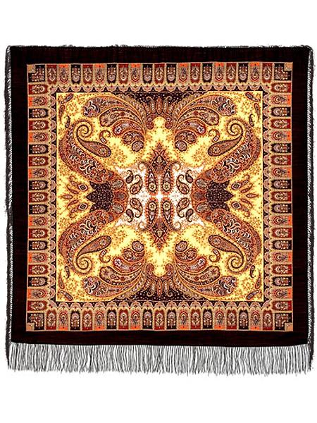 Шерстяной Павлопосадский платок Фаворит, 125*125 см, арт. 1344-18Платок шерстяной с набивным рисунком и шелковой бахромой.<br>Размер 125*125 см.<br>