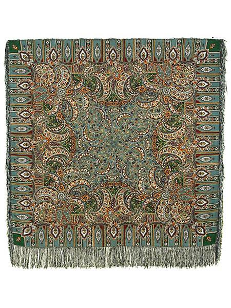 Шерстяной Павлопосадский платок Садко, 125*125 см, арт. 598-52Платок шерстяной с набивным рисунком и шелковой бахромой.&#13;<br>Размер 125*125 см.&#13;<br>Бахрома состоит из нитей двух цветов – темно-зеленого и зеленовато-серого.<br>
