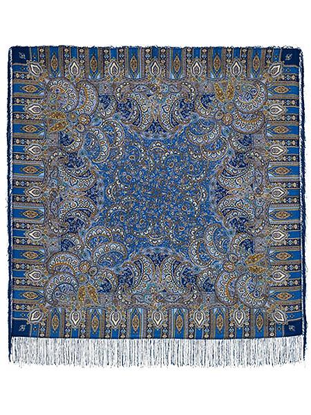 Шерстяной Павлопосадский платок Садко, 125*125 см, арт. 598-57Платок шерстяной с набивным рисунком и шелковой бахромой.<br>Размер 125*125 см.<br>Бахрома состоит из нитей двух цветов – темно-синего и серо-синего цветов....<br>