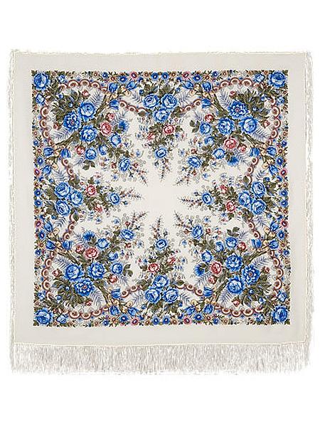 Шерстяной Павлопосадский платок Весеннее утро, 125*125 см, арт. 555-4Платок шерстяной с набивным рисунком и шелковой бахромой.&#13;<br>Размер 125*125 см.<br>