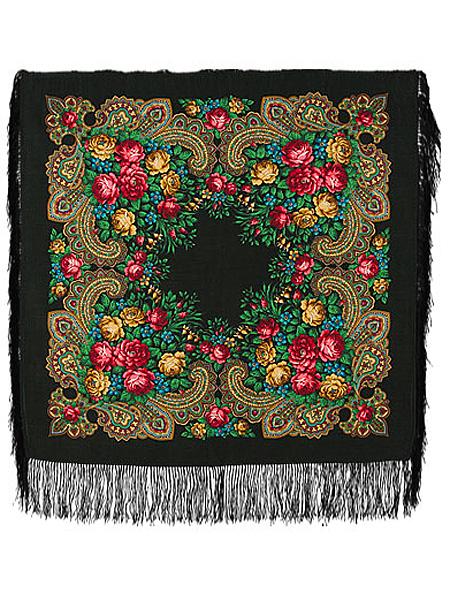 Шерстяной Павлопосадский платок Незнакомка, 89*89 см, арт. 779-18Платок шерстяной с набивным рисунком и шелковой бахромой.<br>Размер 89*89 см.<br>