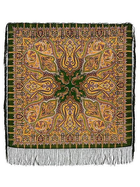 Шерстяной Павлопосадский платок Шафран, 89*89 см, арт. 1155-10Платок шерстяной с набивным рисунком и шелковой бахромой.<br>Размер 89*89 см.<br>