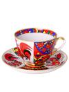Сервиз чайный форма Весенняя, рисунок Народные узоры 6/20, Императорский фарфоровый заводСервиз чайный из 20 предметов: 6 чайных пар, чайник заварочный, сахарница и 6 десертных тарелок.<br>