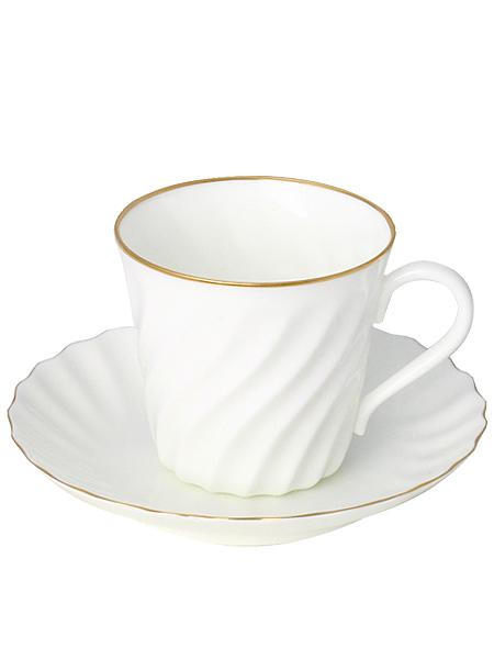 Кофейная чашка с блюдцем форма Витая, рисунок Золотой кантик, Императорский фарфоровый заводФарфоровая кофейная пара.<br>Объем чашки - 155 мл.<br>