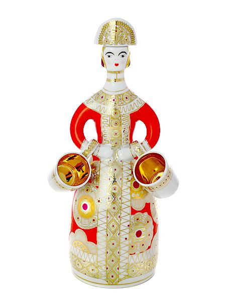 Подарочный набор для вина 3-х предметный, форма Матрешка, рисунок Красный сарафан, Императорский фарфоровый заводВ набор входит графин из твердого фарфора объемом 700 мл, две кружечки из фарфора 25 мл.<br>
