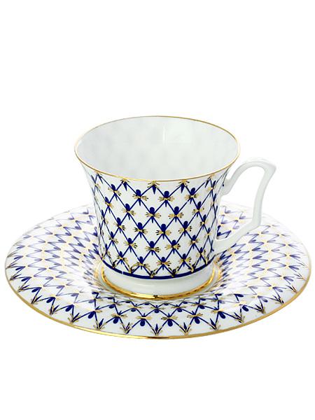 Кофейная чашка с блюдцем форма Юлия, рисунок Кобальтовая сетка, Императорский фарфоровый заводФарфоровая кофейная пара.<br>Объем чашки - 145 мл.<br>