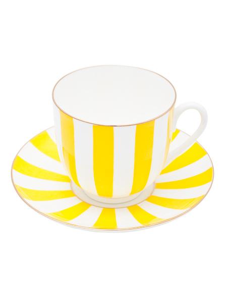 Кофейная чашка с блюдцем форма Ландыш, рисунок Да и Нет желтая, Императорский фарфоровый заводФарфоровая кофейная пара.<br>Объем чашки - 180 мл.<br>