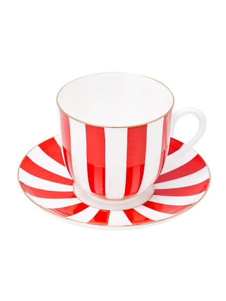Кофейная чашка с блюдцем форма Ландыш, рисунок Да и Нет красная, Императорский фарфоровый заводФарфоровая кофейная пара.<br>Объем чашки - 180 мл.<br>