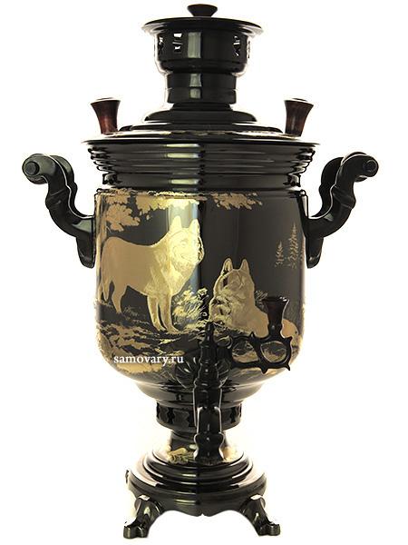 """Угольный самовар 5 литров """"цилиндр"""" черный никель с гравировкой """"Волки"""" от 32 900 руб"""