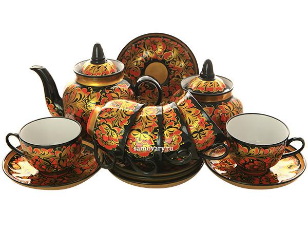 """Чайный сервиз Хохлома """"Заряница"""" на 6 персон от 11 900 руб"""