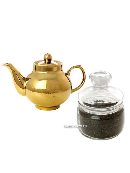 Подарочный набор: чайник заварочный керамический под золото с копорским чаемВыгодный комплект из заварочного чайника и целебный копорского чая.<br>Экономия при покупке набора 150 рублей!...<br>