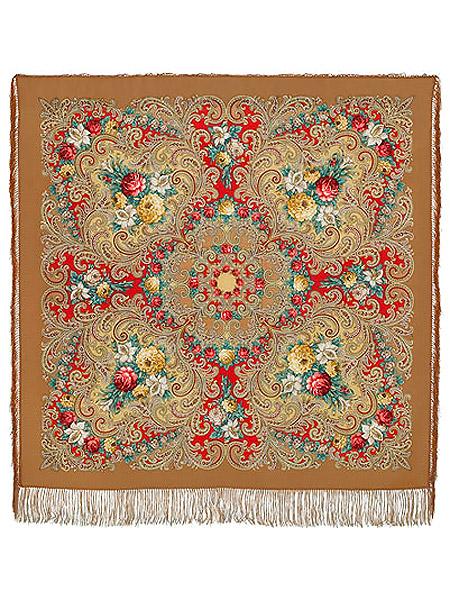 Шерстяной Павлопосадский платок Тайна сердца, 125*125 см, арт. 1437-2Платок шерстяной с набивным рисунком и шелковой бахромой.<br>Размер 125*125 см.<br>