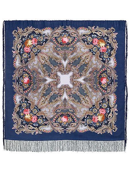 Шерстяной Павлопосадский платок Сон бабочки, 125*125 см, арт. 1463-12Платок шерстяной с набивным рисунком и шелковой бахромой.<br>Размер 125*125 см.<br>