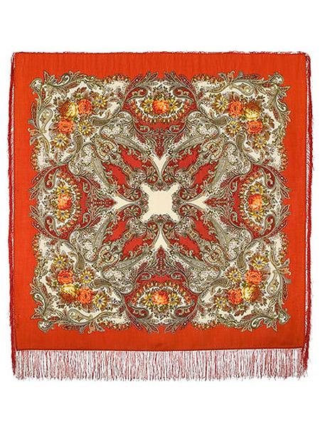Шерстяной Павлопосадский платок Сон бабочки, 125*125 см, арт. 1463-3Платок шерстяной с набивным рисунком и шелковой бахромой.&#13;<br>Размер 125*125 см.<br>