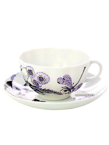 Чашка с блюдцем чайная форма Тюльпан, рисунок Шепот стрекозы, Императорский фарфоровый заводФарфоровая чайная пара.<br>Объем - 250 мл.<br>