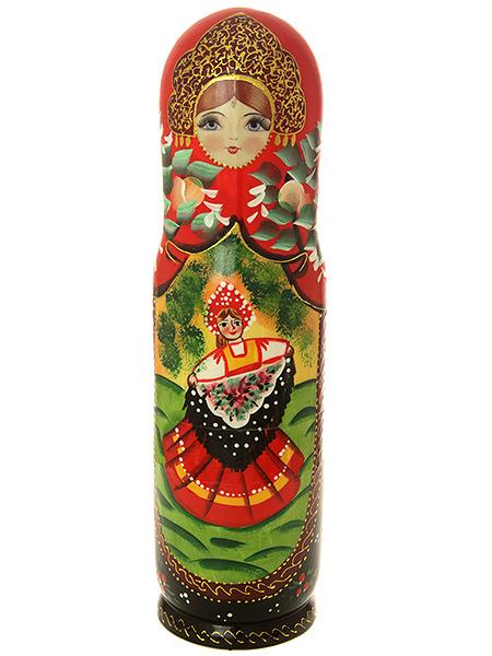 Матрешка-штоф Сюжет.Павлопосадский платок 0,7 л арт.020Матрешка-штоф для бутылки объемом 0,7 л.<br>Высота - 38 см.<br>