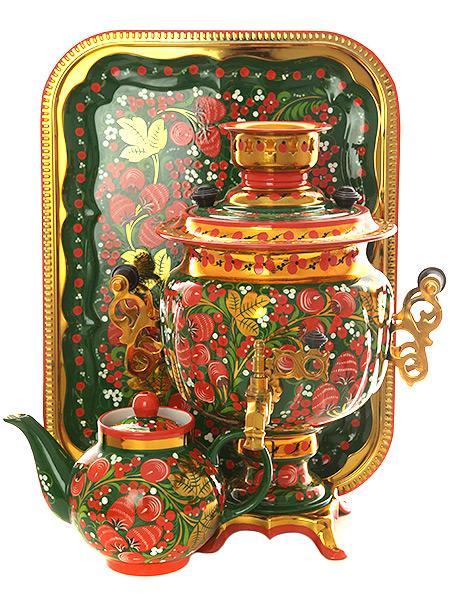 Набор самовар электрический 3 литра с художественной росписью