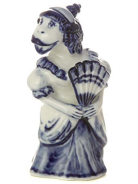 Скульптура Обезьянка-барыня, ГжельСкульптура керамическая с художественной росписью.&#13;<br>Символ наступающего 2016 года.<br>