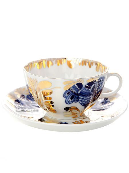 Сервиз чайный форма Тюльпан, рисунок Золотой сад 6/20, Императорский фарфоровый заводСервиз чайный из 20 предметов: 6 чайных пар, чайник заварочный, сахарница и 6 десертных тарелок.<br>