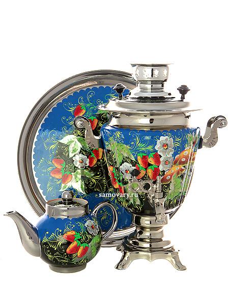 Набор самовар электрический 3 литра с художественной росписью Летняя полянка, арт. 140450Самовары электрические<br>Комплект из трех предметов:латунный самовар, металлический поднос и заварочный чайник.<br>