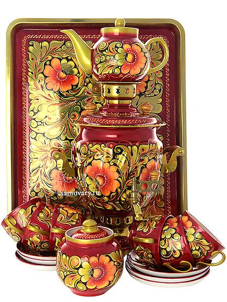 """Набор самовар электрический 3 литра с художественной росписью """"Кудрина"""" с чайным сервизом, арт. 160322с Тула"""