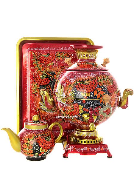 Набор самовар электрический 5 литров с художественной росписью Хохлома на красном фоне мелкая, шар, арт. 170811Самовары электрические<br>Комплект из трех предметов:латунный самовар, металлический поднос и заварочный чайник.<br>