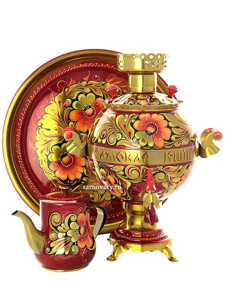 Набор самовар электрический Петух 3 литра с художественной росписью Кудрина , арт. 130311Комплект из трех предметов:латунный самовар, металлический поднос и заварочный чайник.<br>