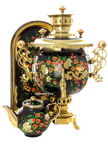 Комбинированный самовар 4,5 литра с художественной росписью Хохлома классическая в наборе с подносом и чайником, арт. 300003Набор из самовара,подноса и заварочного чайника.&#13;<br>Труба для отвода дыма в комплекте.<br>