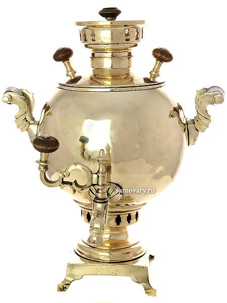 """Антикварный угольный царский самовар 3 литра желтый """"шар"""", произведен в конце 19 века, арт. 465678 Тульские самовары"""