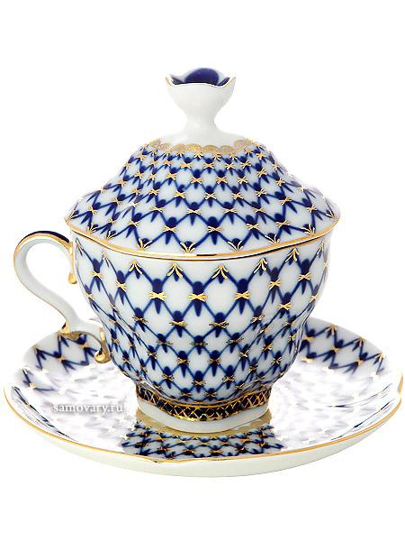 """Чашка чайная с крышечкой и блюдцем форма """"Подарочная-2"""", рисунок """"Кобальтовая сетка"""", Императорский фарфоровый завод Тульские самовары"""