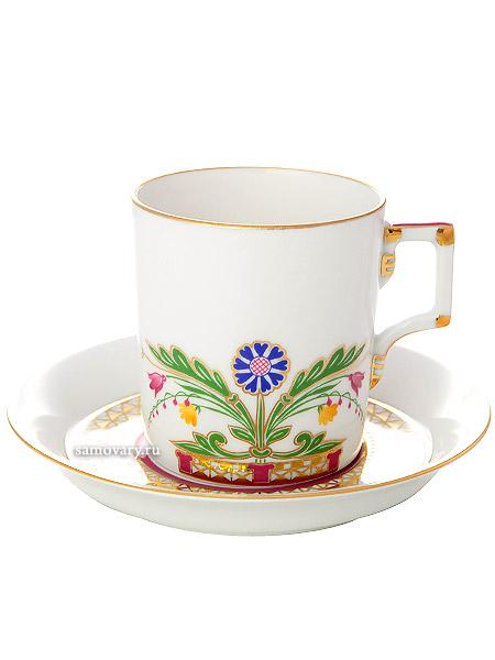 Чашка с блюдцем чайная форма Гербовая, рисунок Замоскворечье, Императорский фарфоровый заводФарфоровая чайная пара.<br>Объем - 220 мл.<br>