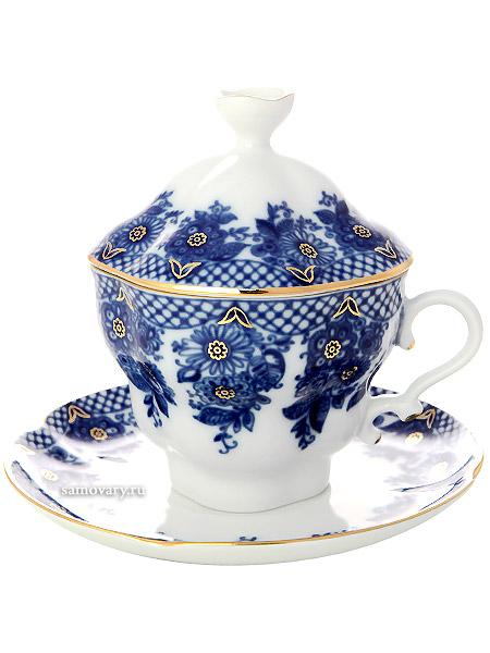Чашка чайная с крышечкой и блюдцем форма Подарочная-2, рисунок Гирлянда, Императорский фарфоровый заводФарфоровая чайная пара.&#13;<br>Объем - 250 мл.<br>