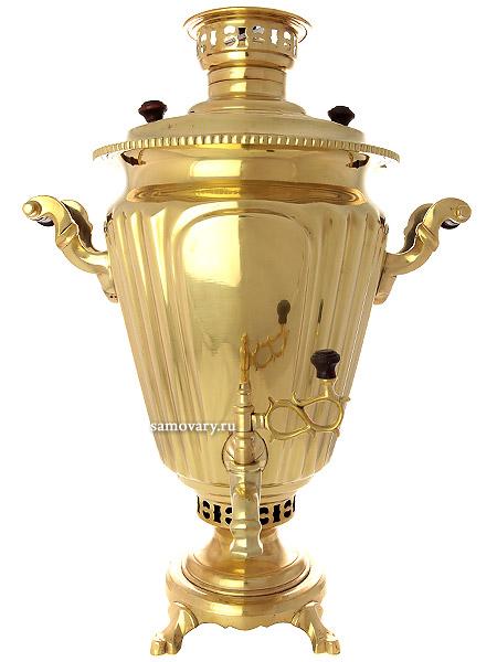 """Старинный угольный самовар 7 литров желтый """"конус"""" граненый, произведен в начале XX века, арт. 430428 Тульские самовары"""