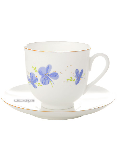 Кофейная чашка с блюдцем форма Ландыш, рисунок Голубые цветы, Императорский фарфоровый заводФарфоровая кофейная пара.&#13;<br>Объем чашки - 180 мл.<br>