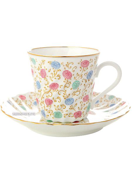 Кофейная чашка с блюдцем форма Витая, рисунок Хризантема, Императорский фарфоровый заводФарфоровая кофейная пара.&#13;<br>Объем чашки - 155 мл.<br>