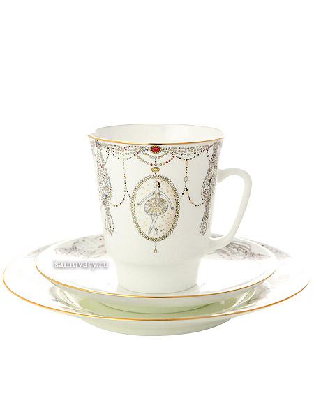 Комплект кофейный: чашка и два блюдца форма Майская, рисунок Балет Лебединое озеро, Императорский фарфоровый заводПодарочный фарфоровый комплект - чашка и два блюдца.&#13;<br>Объем чашки - 165 мл.<br>