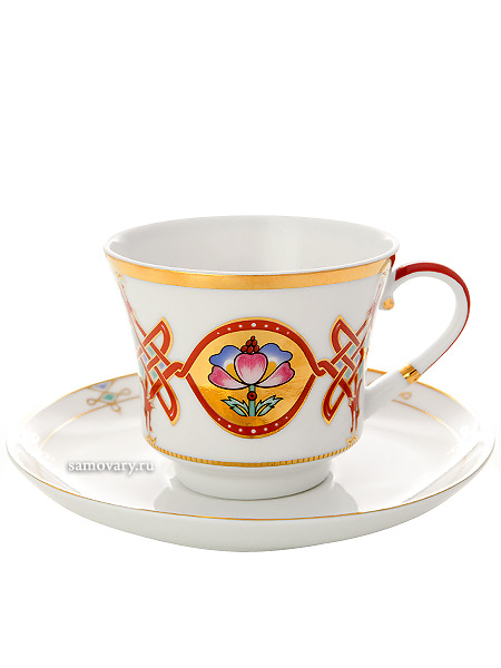 Сервиз чайный форма Банкетная, рисунок Византия 6/20, Императорский фарфоровый заводСервиз чайный из 20 предметов: 6 чайных пар, чайник заварочный, сахарница и 6 десертных тарелок.<br>