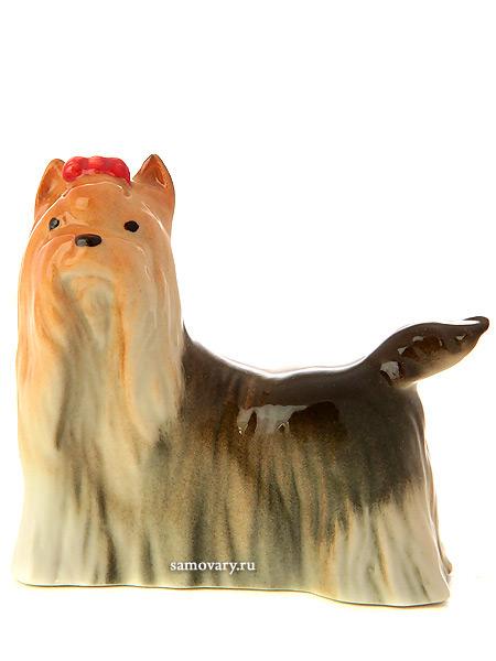 Скульптура Йоркширский терьер, Императорский фарфоровый заводФарфоровая сувенирная фигурка животного.<br>