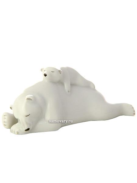 Скульптура Медведица с медвежонком, Императорский фарфоровый заводФарфоровая сувенирная фигурка животного.<br>