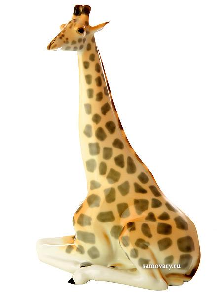 Скульптура Жираф с поднятой головой, Императорский фарфоровый заводФарфоровая сувенирная фигурка животного.<br>
