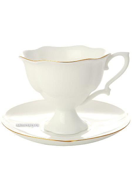 Сервиз кофейный форма Наташа, рисунок Золотая лента 6/14, Императорский фарфоровый заводСервиз кофейный из 14 предметов: 6 кофейных пар, кофейник и сахарница.<br>