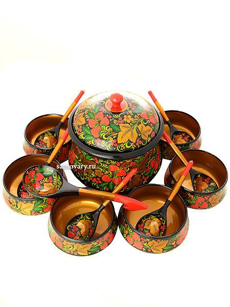 Набор для супа Хохлома классическая 14 предметовДеревянный набор для супа с хохломской росписью.&#13;<br>Состоит из 14 предметов.<br>