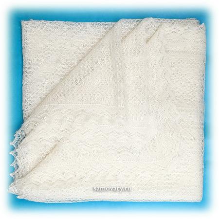 Оренбургский пуховый платок, паутинка белая, арт. 1С314 (А150-01)Изящная паутинка,&#13;<br>цвет - белый.&#13;<br>Размер - 150х150 см.&#13;<br>Состав: пух козий – 78%, вискоза – 22%.<br>