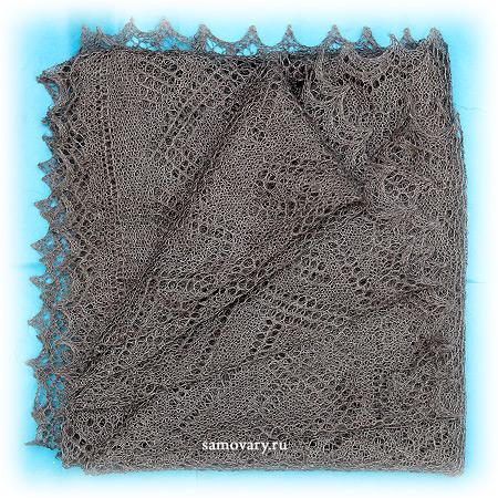 Пуховый оренбургский платок серый (паутинка), арт. А 100-03